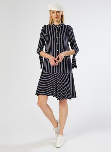 T-Box Çizgili Gömlek Elbise Lacivert